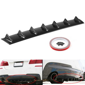 ABS Universal Car Lower Bumper trasero Difusor de labios Spoiler 7 Fin Car Back Bumper Lip Deflector Splitter